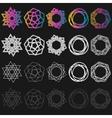 set of outline emblems and badges - vector image