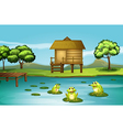 A pond with three playful frogs vector | Price: 1 Credit (USD $1)