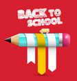 back o school title with pencil on red background vector image