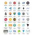 big set of crypto currency logo coins bitcoin nem vector image