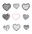 black and red hand drawn hearts on white vector image