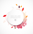 blank circle paper with leaf and watercolor paint vector image vector image