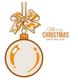 Christmas balls with orange ribbon and bows vector image vector image