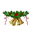 Christmas silver bells holly sprig and berries vector image vector image