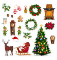 christmas winter holidays icons with santa gifts vector image