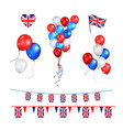 color balloons and union jack flag vector image
