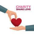 colorful hand giving a red heart charity share vector image vector image