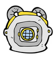 comic cartoon old deep sea diver helmet vector image vector image