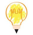 conceptual idea lightbulb with pencil shape vector image vector image