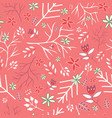 coral vintage florals seamless pattern vector image