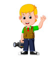 cute cartoon a cameraman vector image vector image