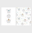 cute hand drawn little cat bear and bunny vector image
