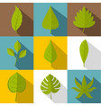 different leaves icon set flat style vector image
