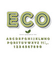 eco green font cartoon abc letters and numbers vector image