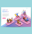 elderly people isometric web page vector image