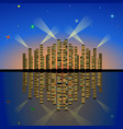 evening city lights with reflection on the water vector image