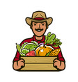 farmer with box fresh vegetables agriculture vector image vector image