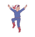 flat sketch kid man in santa hat jumping vector image vector image