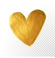 gold paint brush valentine heart on white vector image vector image