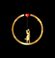 gold ring valentines day concept loving couple vector image