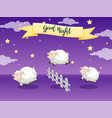 good night poster with counting sheep vector image