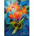 greeting card lily stained-glass window vector image