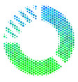 halftone blue-green pie chart icon vector image vector image