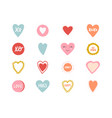 hand drawn color heart labels tags isolated on vector image vector image