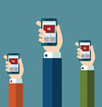 Hands holds smartphone with video player app on vector image