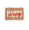 happy birthday poster design text hanging on vector image