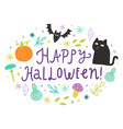 happy halloween cute doodles and lettering vector image vector image