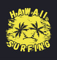 hawaii surfing typography for t-shirts vector image vector image