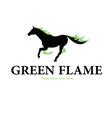 horse green flames logo vector image