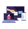 laptop with computer for vote online isolated icon vector image vector image