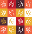 Linear hexagon logos and design elements