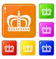 monarchy crown icons set color vector image vector image