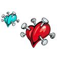 nailed hearts vector image vector image