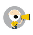 old man with megaphone round avatar icon vector image vector image