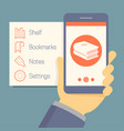 online mobile library concept in flat style hand vector image vector image