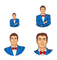 pop art avatar icon handsome man in vector image vector image