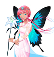 Portrait of a young fairy with a wedding dress and vector image vector image