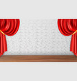 red curtains on white brick wall background vector image