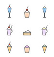 set of colored icons icecream linear art dessert vector image vector image