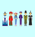 set of people in traditional asian clothing vector image vector image