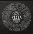 set pizza cartoon doodle objects symbols and vector image vector image