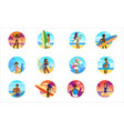 set summer people beach icons decorative vacation vector image