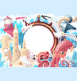 summer sea collage photo frame vector image