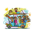 tuk-tuk with company of friends goes to surfing vector image vector image