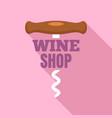 wine shop corkscrew logo flat style vector image