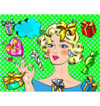 woman with christmas gift pop art retro styl vector image vector image
